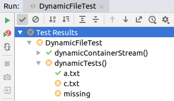 screenshot of the unit test execution of IntelliJ